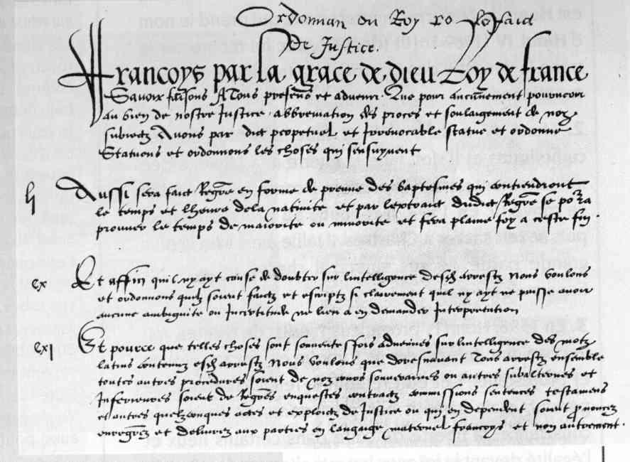 Decret 1539 Villers Cotteret